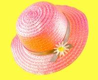 różowa kapelusz słoma Obrazy Royalty Free