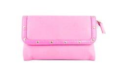 Różowa kosmetyk torba odizolowywająca Fotografia Royalty Free