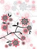 różowa kwiecista sylwetki wiosna ilustracja wektor