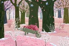 różowa las wiosna ilustracja wektor