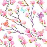 Różowa magnolia rozgałęzia się z motylami, pluskwami, biedronkami i pszczołami, ilustracja wektor