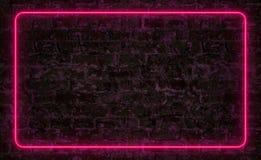 Różowa neonowa rama na ciemnej ścianie z cegieł royalty ilustracja