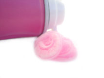 różowa opiłki probówki kremy Fotografia Stock
