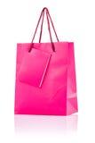 Różowa papierowa torba   Zdjęcia Royalty Free