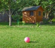 Różowa piłka na zielonej trawie w podwórku zdjęcia royalty free