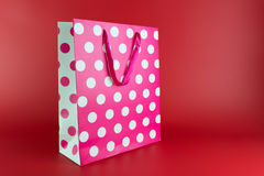 Różowa polki kropki prezenta torba Obraz Stock