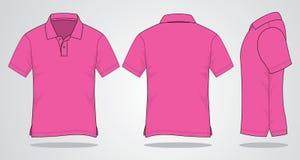 Różowa polo koszula Vecor dla szablonu royalty ilustracja