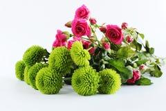 Różowa róży zieleń kwitnie bukieta tło obrazy royalty free