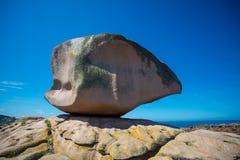 Różowa skała w Tregastel w różowym granitu wybrzeżu Obraz Stock