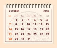 Różowa strona Październik 2018 na mandala tle Fotografia Royalty Free