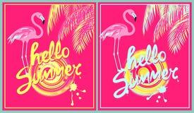 Różowa tło różnica z rysunkowym literowaniem, słońcem, palma liśćmi i flamingiem koloru żółtego i nowej koloru lata ręki cześć, a ilustracji