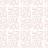 Różowa wpisowa miłość TY bezszwowy wzór Fotografia Stock