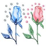 Różowe & błękitne róże pączkują z diamentami ilustracji