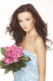 różowe brunetek róże Zdjęcie Stock