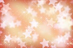 Różowe gwiazdy i bokeh światła Zdjęcia Royalty Free