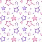 Różowe i purpurowe nacre gwiazdy na białym tle deseniują seamle Obraz Royalty Free