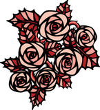 Różowe róże w tatuażu stylu Zdjęcia Stock