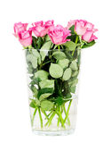 Różowe róże w wazie odizolowywającej na białym tle obrazy stock