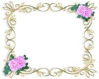 różowe róże zaproszenie graniczny poślubić Zdjęcie Royalty Free