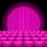 Różowe zasłony z światłem reflektorów i siedzeniami Obraz Stock