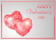 Różowego gemstone kierowy kształt Błyszczący kamienny projekt dla valentine s dnia lub ślubnej zaproszenie karty ilustracji
