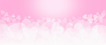 Różowego i białego serca Bokeh kształtny tło obrazy royalty free