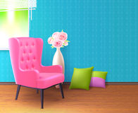 Różowego krzesła Realistyczny Wewnętrzny plakat royalty ilustracja