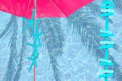 Różowego parasol rozgwiazdy i strzała turkusowy nastrój Fotografia Royalty Free