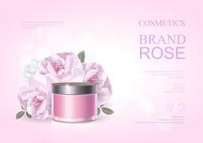 Różowego piękna produktu kosmetyczny plakat, różanego nawilżania kremowy szablon, skóry opieki reklamy również zwrócić corel ilus ilustracja wektor