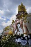 Różowego słonia statua obok Uroczystego pałac w Bangkok Tajlandia jako religii kultury Azja buddyjski symbol Zdjęcie Stock