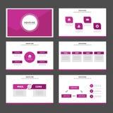 Różowego wieloboka infographic element i ikony prezentaci szablonów płaski projekt ustawiamy dla broszurki ulotki ulotki strony i Zdjęcia Stock