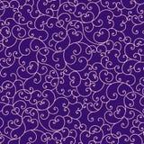 Różowego zawijasa bezszwowy wzór nad głębokim - purpurowy tło ilustracja wektor