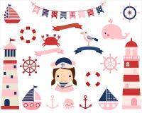 Różowej dziewczyny nautyczny set z latarniami morskimi ilustracja wektor