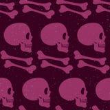 Różowej ludzkiej czaszki bezszwowy wzór Fotografia Stock