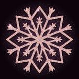 Różowej złotej błyskotliwości przyjemny płatek śniegu ilustracja wektor