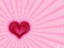 różowią czerwone serce Obrazy Stock