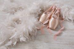 Różowi baletniczy pointe buty, piórko na białym drewnianym tle i Obraz Royalty Free