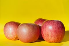 Różowi dojrzali jabłka na żółtym tle Zdjęcia Royalty Free
