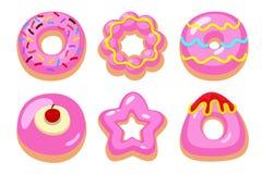 Różowi donuts ustawiający Fotografia Royalty Free