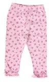 Różowi dzieci leggings spodnia odizolowywający Zdjęcie Stock