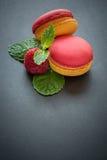 Różowi i żółci macaroons Zdjęcie Royalty Free