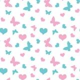 Różowi i błękitni serca i motyli walentynki ` s dnia wzoru seaml Zdjęcie Royalty Free
