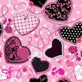 Różowi i czarny Serca - bezszwowy wzór Zdjęcia Royalty Free