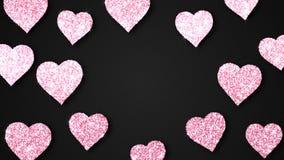 Różowi olśniewający serca błyskają na czarnym tle Walentynka dnia pętli wakacyjna abstrakcjonistyczna animacja ilustracja wektor