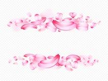 Różowi płatki Sakura lub róża odizolowywający na przejrzystym tle realistyczny szczegółowy skład w formie Zdjęcie Royalty Free