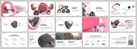 Różowi prezentacja szablonów elementy na białym tle Wektorowy infographics ilustracja wektor