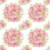 Różowi róża bukiety beak dekoracyjnego latającego ilustracyjnego wizerunek swój papierowa kawałka dymówki akwarela Bezszwowy dese Obrazy Stock