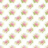 Różowi róża bukiety beak dekoracyjnego latającego ilustracyjnego wizerunek swój papierowa kawałka dymówki akwarela Bezszwowy dese Fotografia Royalty Free
