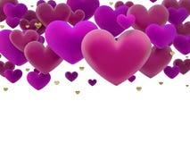 Różowi serca dimensional odpłacają się Zdjęcia Stock