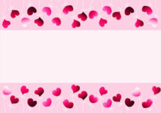 Różowi serca i łęku zaproszenia karta royalty ilustracja